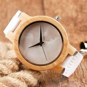 Image 5 - Minimalist Bamboo Watch Creative Marble Pattern Face Women Natural Cloud Wood Clock Men Quartz Wristwatch Genuine Leather Bangle