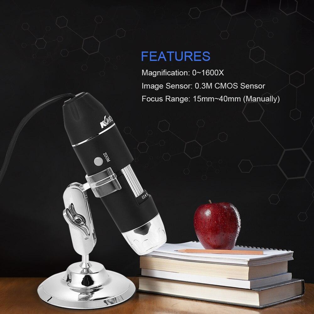 1600X Microscope Grossissement USB avec OTG Numérique Endoscope 8 LED Lumière Loupe Loupe Microscopio avec Support