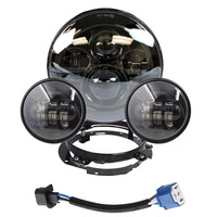 For Harley Davidson 7 Led Projector Daymaker Headlight + 4 1/2 Passing Lights For Harley Touring Electra Glide Black 7 inch led