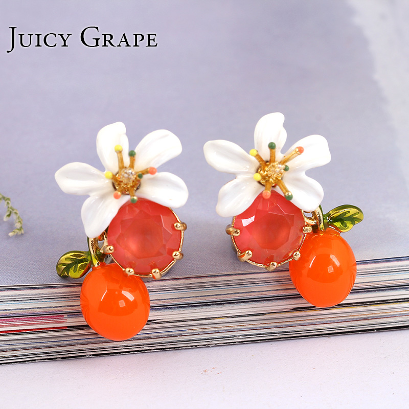 Orange Flower Stud Earrings For Women 925 Silver Needles Clip On Earrings Ear Hook Jewelry Enamel Precious Jewelry New Arrivals недорого