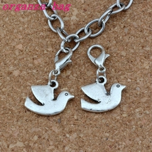 100Pcs/lots Antique Silver Peace Dove Bird Charms Bead with Lobster clasp Fit Charm Bracelet DIY Jewelry 17x27.5mm A-250b