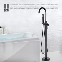 HPB Freestanding Tub Filler Lacquered Black Bathtub Faucet Floor Mounted Faucets with High Pressure Handheld Shower DR5A15