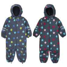 Foreign trade childrens soft shell pants outdoor Siamese climbing clothes boys and girls Childrens waterproof jumpsuit,