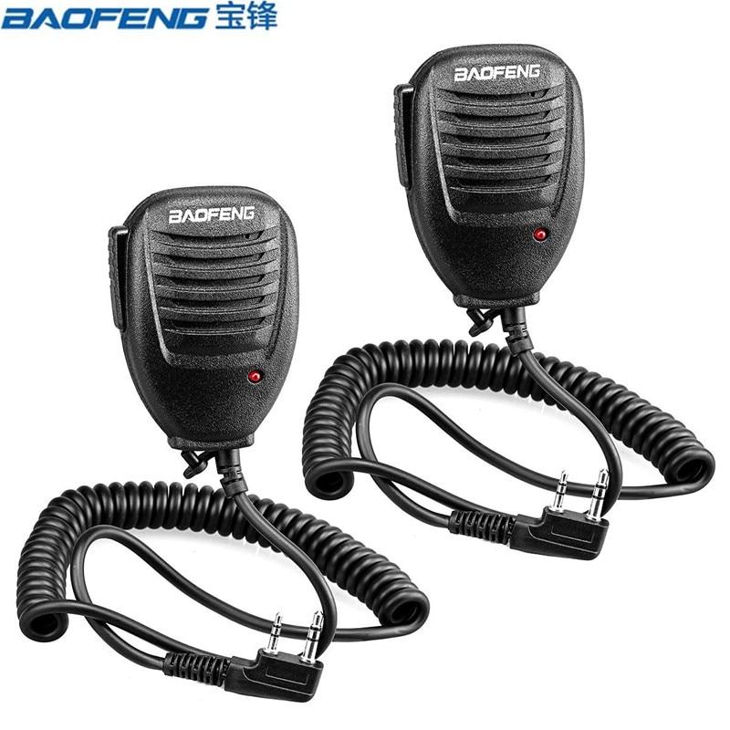 2pcs Handheld Speaker Mic 2 Pin PTT Speaker Mic For Retevis H-777//RT-5R//RT7