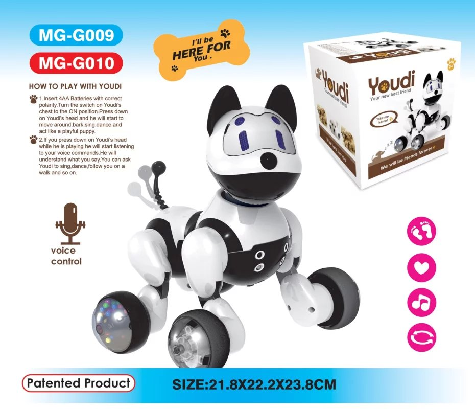 Newest Intelligent Voice Command Dog Electric Puppet Dog Toy Singing Walking Smart Dogs For Kid Gifts With Original Box Собака