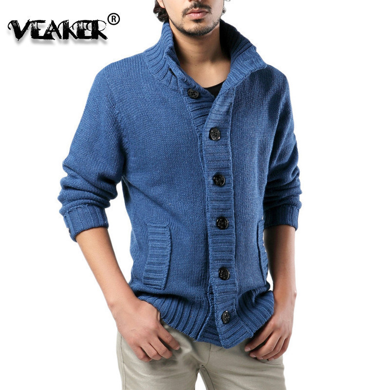 Jacket Slim-Fit Coat Sweater Cardigan Knitted Male Plus-Size Winter Casual Mens Thick