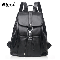 MOXI Genuine Leather Daypack Women Casual Backpack Natural Cowhide Female Backpack Leisure School Bag Girl Student Shoulder Bag