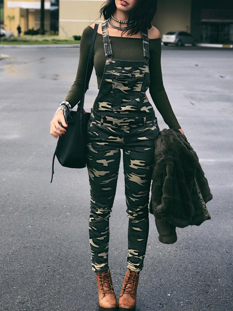2019 New Fashion Street Style Women Stylish Leisure Camouflage Overalls Pocket Front Overalls Army   Jumpsuit