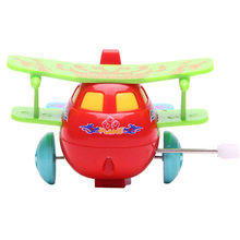 Wind Up Toys Cartoon Plastic Airplane Model Baby Kids Clockwork Toys Running Clockwork Spring Toys For Children Best Gifts(China)