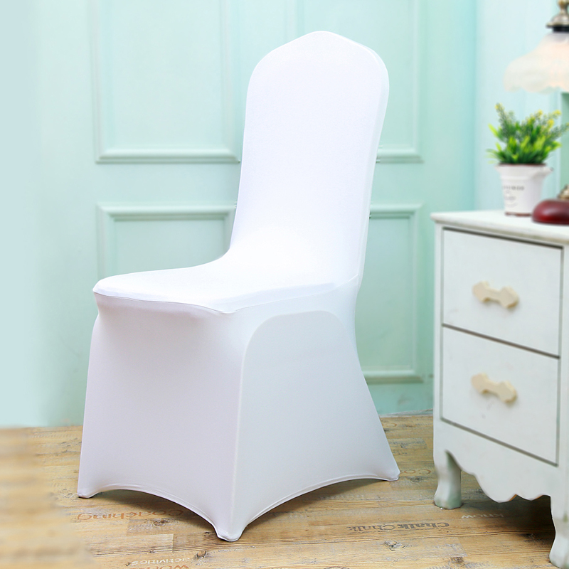 50/100Pcs Cheap Office Polyester Wedding Chair Cover Spandex White Banquet Lycra Chair Covers For Weddings Party Christmas Decor image