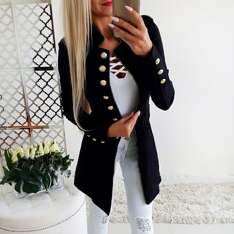 LASPERAL 2019 High Quality Women Fashion Simple Office Lady OL Lapel long Sleeve Buttons Slim Fit Suit Jacket Solid Blazer Coats