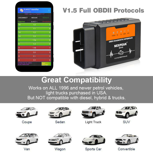 ELM327 V1.5 WIFI OBD2 Adapter PIC18F25K80 OBD 2 Scanner Car Auto Diagnostic-tool Scanner OBD EML327 for iPhone IOS WI-FI ELM 327