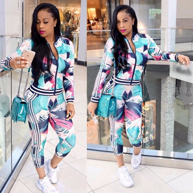 91be13311b0a 2018 Fashion Sweat Suits for Women Long Sleeve Two Piece Set Floral Print  Jacket And Ladies Jogger Pants Set Women Tracksuits