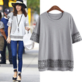 Plus Size 5XL Pregnant Women's Maternity Blouses Work Formal Lady White Lace Openwork Loose Tops Tee