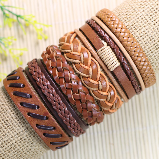 6pcs Handmade Punk Charms Men Braclet For Women Ethnic Tribal Wrap Black Bracelet & Bangle Femme Male Wristband Wrap Jewelry  5