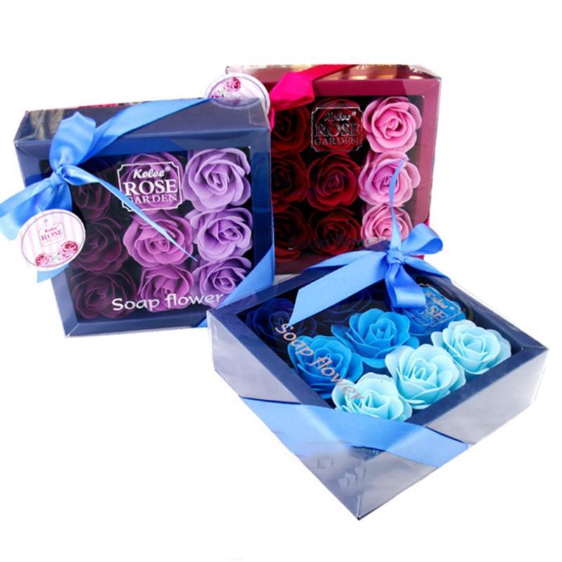 9 stks / doos Kleurrijke Hartvormige Rose Zeep Bloem Romantische - Feestversiering en feestartikelen - Foto 1