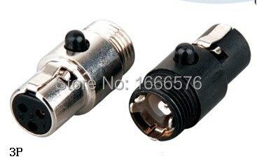 wholesale 50 pcs lot Mini XLR 3 Pin female Cable Inline Plug Large 113