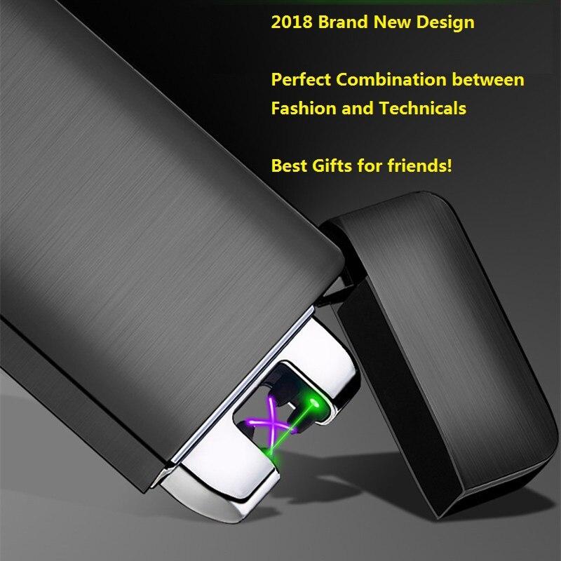 Láser verde recargable USB encendedor eléctrico rápido encender encendedor 3D impresión doble arco Plasma encendedores Gadgets para hombres
