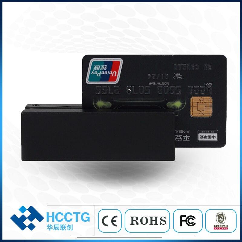 Prix bon marché encodeur de carte à bande magnétique MSR lecteur de carte à puce écrivain avec logiciel HCC-100