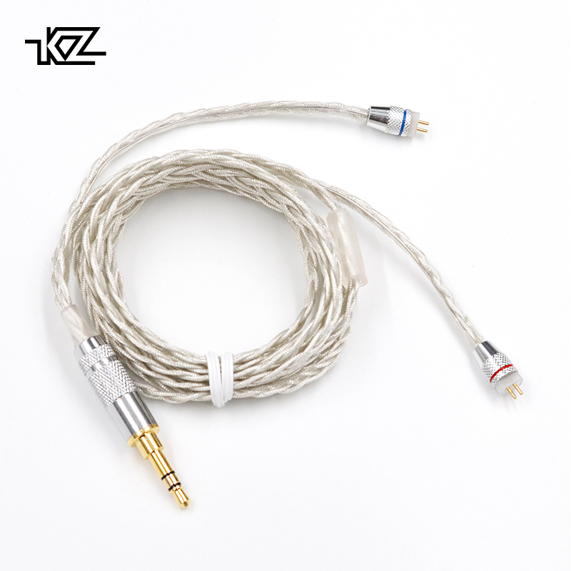 KZ ZST/ED12/ES3/ZSR Earphone1.2M High Purity Oxygen Free Copper Headset Silver Plated Wire 0.75mm Pin Upgrade Cable