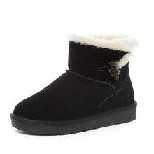 2016 Limited Botas Mujer Invierno Lana Natural Forrado Medio Botas de Nieve Clásico Botón de la Vaca Real De Tobillo Zapatos de Mujer Size5-9