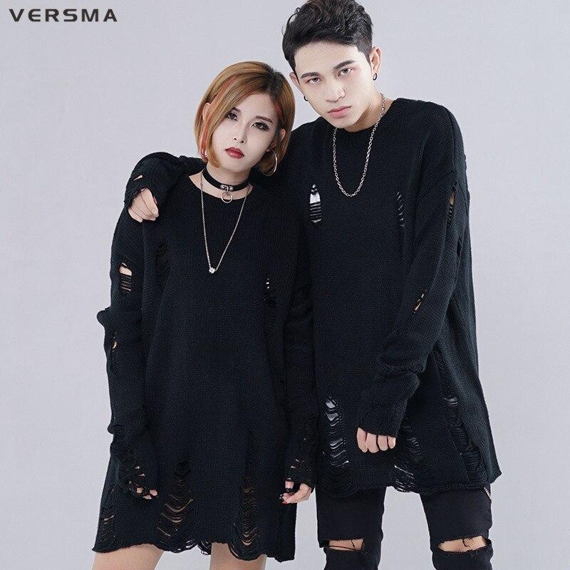 Женский и мужской свитер в Корейском стиле VERSMA, черный свитер в стиле хип-хоп, Рождественский свитер в стиле Харадзюку, Прямая поставка