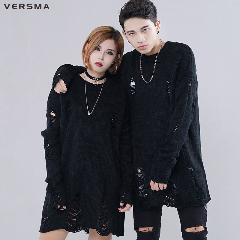 VERSMA Korean Harajuku Ripped Oversized Sweater Men Women Pullover Hip Hop Black Ugly Christmas Sweater For Couples Dropshipping
