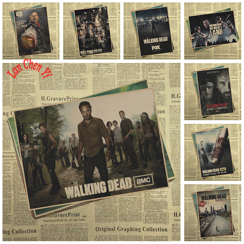 Film klasik, Kertas Kraft poster, The Walking Dead Season 7 wallpaper kreatif, Dekorasi interior, Pengiriman gratis