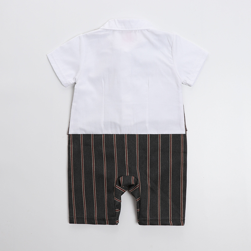e60318d29cc2 1 year old Baby boy clothes Handsome Summer Newborn 0 3 6 9 12 M Baby Boys  Gentleman party Striped tie Single Breasted Clothing-in Rompers from Mother  ...