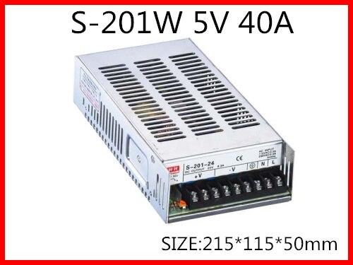 201W 5V 40A Single Output Switching power supply for LED Strip light AC-DC s 201 5 201w 5v 40a single output ac dc switching power supply for led strip ac110v 220v transformer to dc 5v led driver