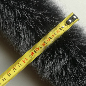 Real Fur Collar 100% Natural Fox Fur Unisex Woman Man Winter Fashion Warm 75cm Lining Length Coat Down Jacker Collar Scarf image