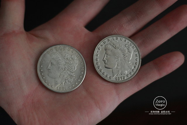 1PC Steel Morgan Dollar (3.8cm Dia)Accessories Illusion Appearing/Disappearing Coin Magie  Props Magic Tricks Close Up