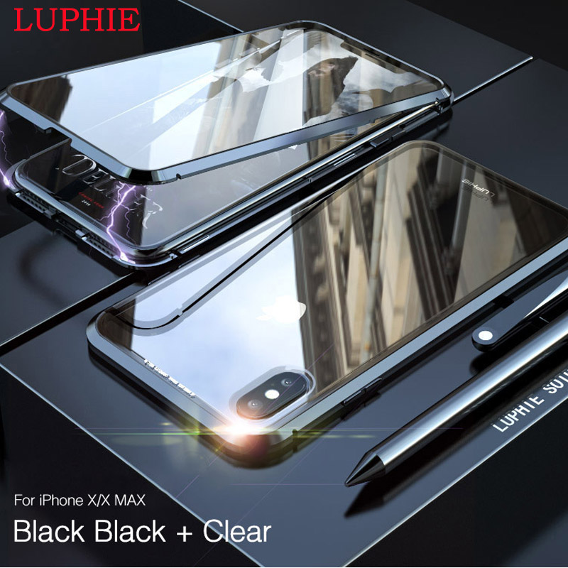 For iphone 6 6S Plus LUPHIE Shockproof Aluminum Bumper Case For iphone 7 Plus Clear Tempered Glass Back Cover Metal Frame Shell iPhone XS