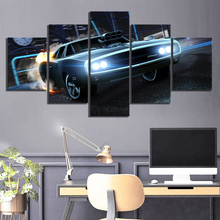 5 Piece HD Luxury Sports Car Pictures Rocket League Game Poster Paintings Fast & Furious Canvas Wall Art