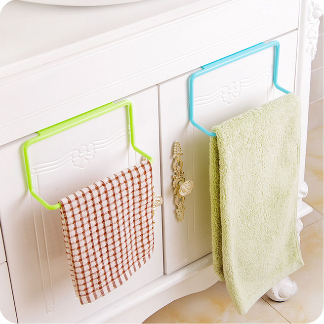 1PC Practical 4 Colors Over Door Towel Holder Rack Rail Cupboard Hanger Bar  Hook Bathroom Kitchen