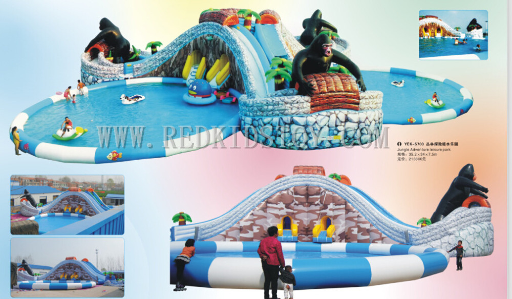 цена на China Direct Factory for Inflatable Floating Water Slide Top Quality Inflatable Amusement Park Set HZ-E010