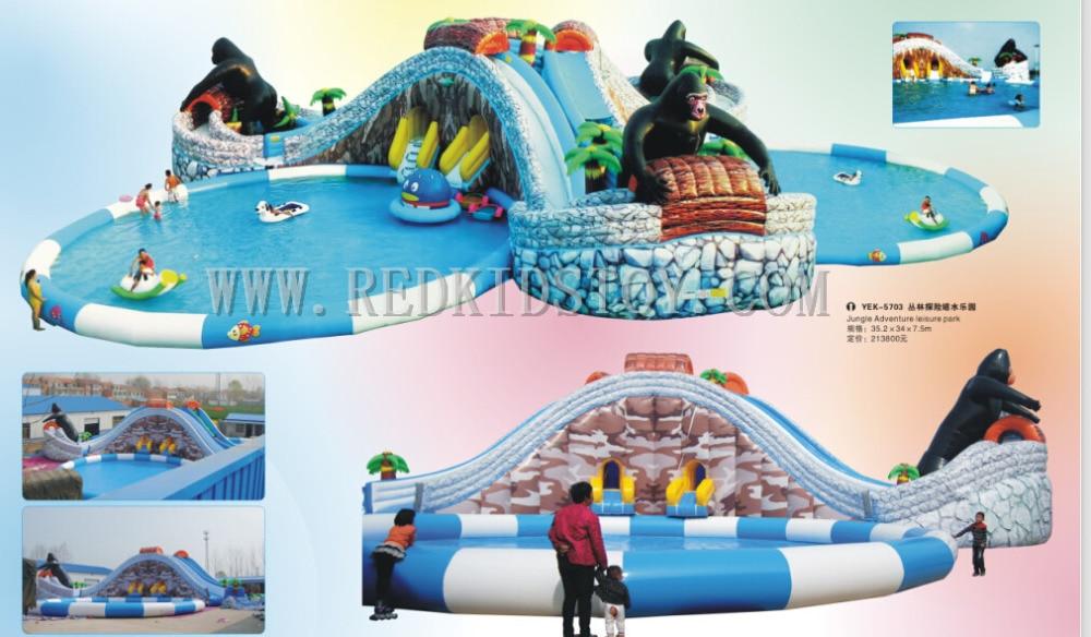 China Direkten Fabrik f r Aufblasbare Schwimmwasserrutsche Top Qualit t Aufblasbare Freizeitpark Set HZ E010