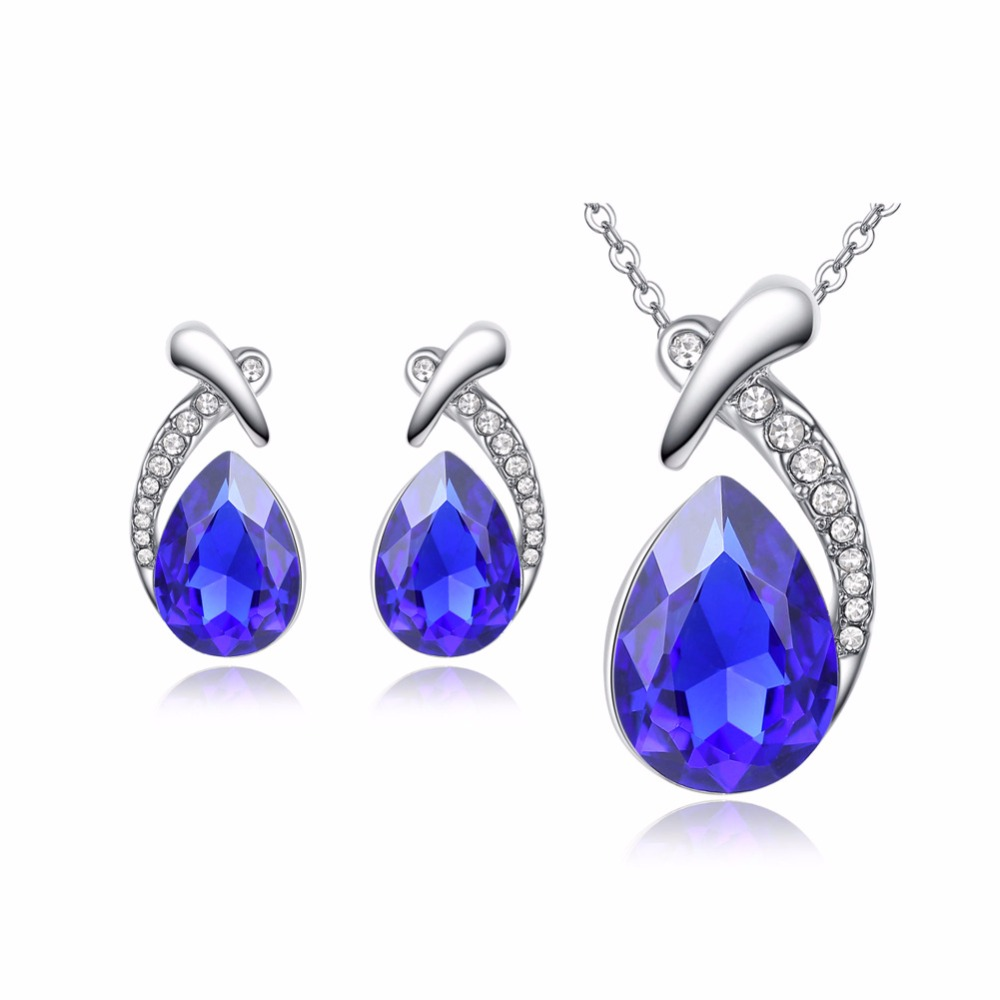 7 Color Water Drop Design Jewelry Sets Earrings Pendientes Necklace Pandent Wedding Engagement Blue Zircon Women Girl Noble Gift