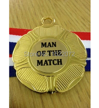 low price custom MAN OF THE MATCH FOOTBALL MEDALS RIBBON High quality and cheap custom made gold medals ribbons