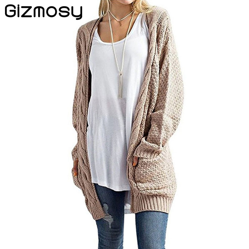 2017 Sweater Autumn Winter Women Long Sleeve Loose Knitting Cardigan Casual Knitted Warm Tops Female Cardigan pull femme SY2035