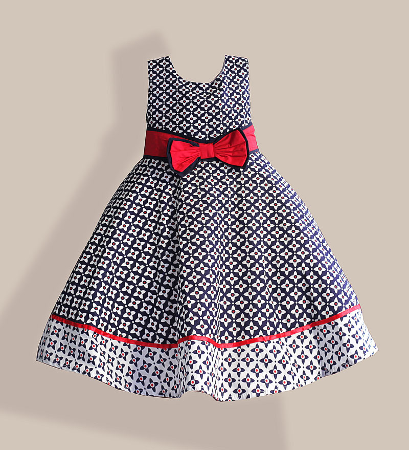 6-10T Fashion Girl Dress Blue Floral Print Big Red Bow children dress for party and wedding girls clothes vetement fille embossed tpu gel shell for ipod touch 5 6 girl in red dress
