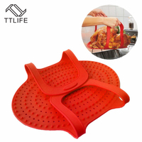 TTLIFE Home Use Non Stick Silicone BBQ Slip Oven Baking Mats Barbecue Charcoal Grill Pad Tray