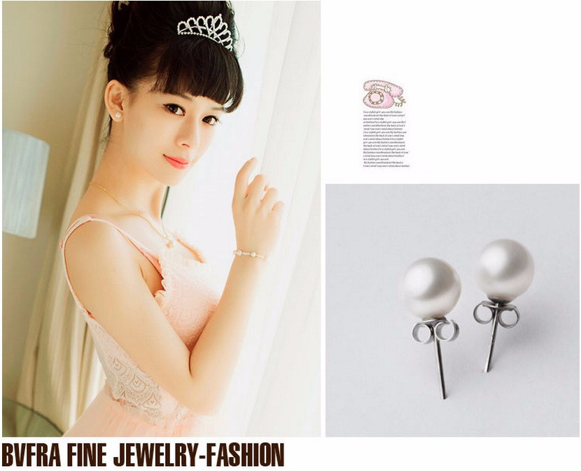 High quality round pearl earrings Ms. nightclubs popular fashion color retention hypoallergenic jewelry factory wholesale 3
