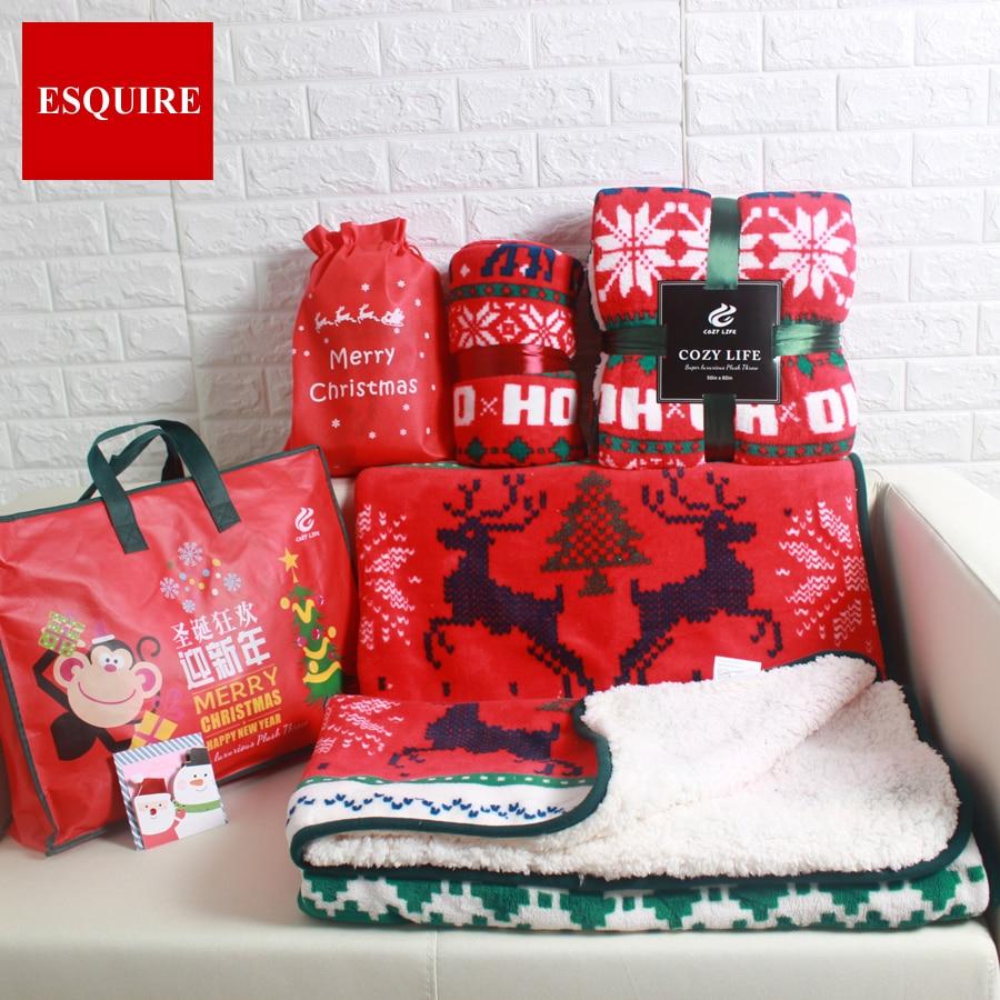 CORAL FLEECE SHERPA RED THROW FLAT BED SHEET SNOW DEER warm CHRISTMAS GIFT sofa tv THROW <font><b>BLANKET</b></font> 127X152CM 50x60inch