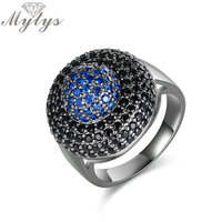 Mytys Modern Honeycomb Design Blue Crystal Heart Pave Setting Black Marcasite Round Ring Fashion Trendy Jewelry