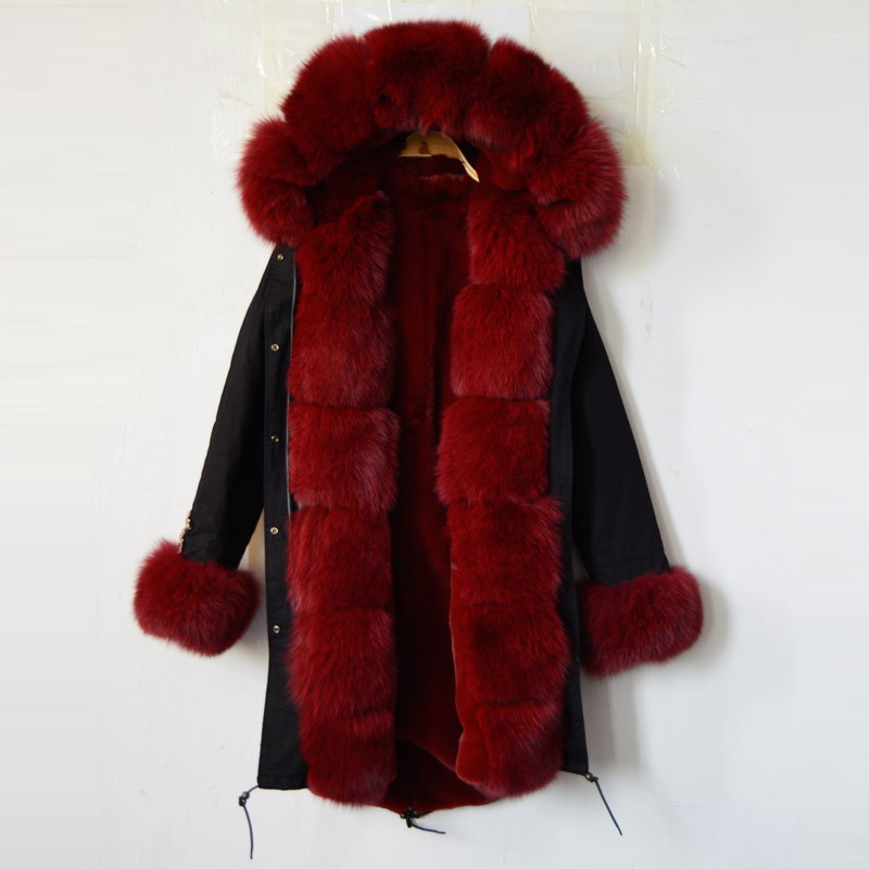 New fashion arrival 2016 black jacket snake beading long red faux fur lining women coat