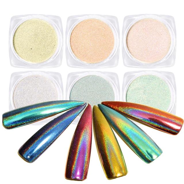 0.5g Chameleon Nail Glitter Dust Mirror Effect Nail Art Chrome Pigment Holographic Nail Powder Manicure Decorations BELB01-06