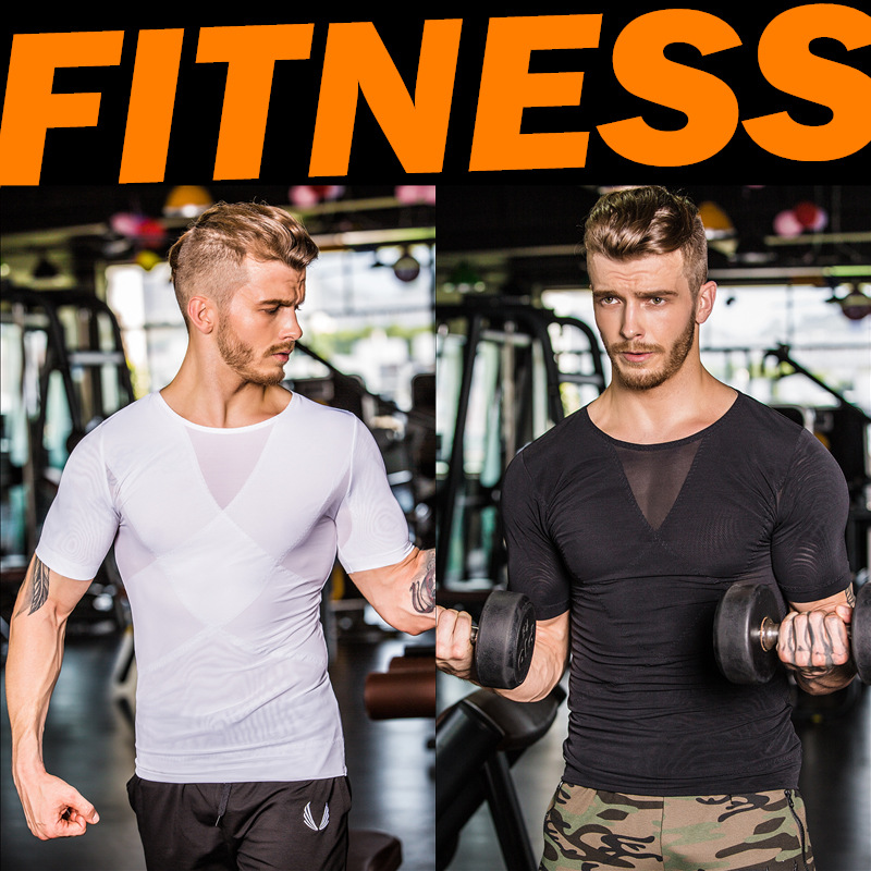 New 2018 Seamless upgrade power net cloth toning vest X Cross beam chest GYM fitness training Joggers running mens garment