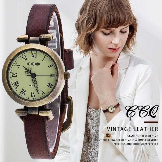 CCQ Brand Fashion Roma Vintage Cow Leather Bracelet Watch Casual Women Wrist Wat