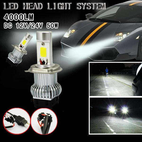 Free Shipping 50w Cree Car Led Headlight 4000 Lumen Led Headlight H4